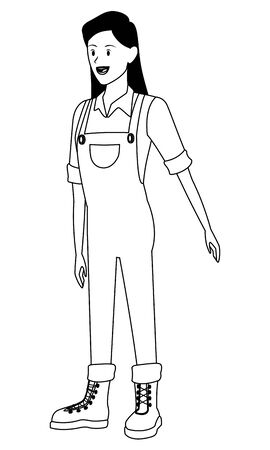 farm, animals and farmer woman with overall and boots avatar cartoon character in black and white vector illustration graphic design