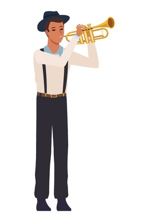 musician playing trumpet avatar cartoon character vector illustration graphic design