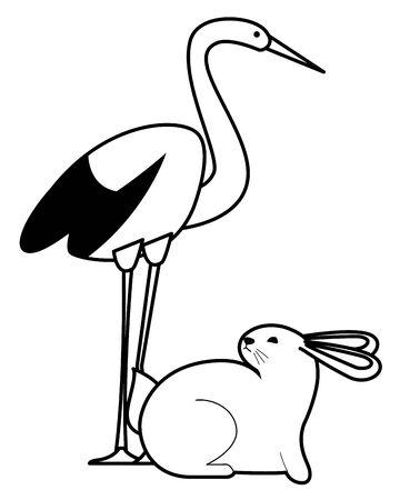 Stork bird and rabbit animals cartoons ,vector illustration graphic design. Illustration