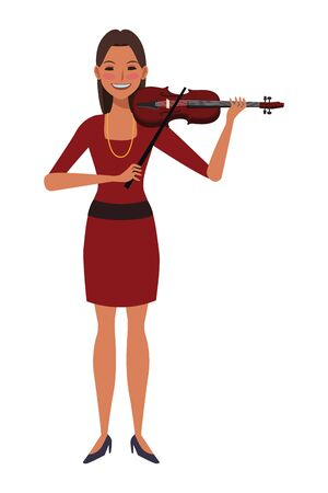 musician playing violin avatar cartoon character vector illustration graphic design