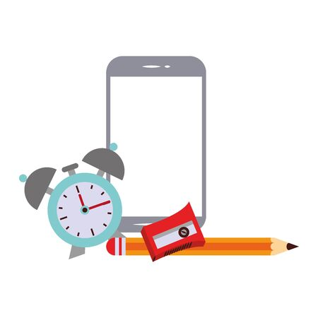 elearning and education smartphone and sharpener with pencil and alarm clock symbols vector illustration graphic design