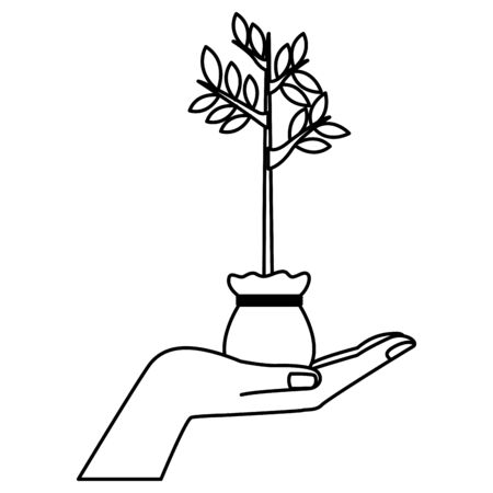 hand holding a plant growing with leaves in a grow bag icon cartoon isolated black and white vector illustration graphic design