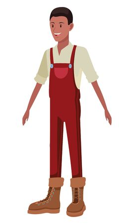 farm, animals and farmer afroamerican man with overall and boots avatar cartoon character vector illustration graphic design