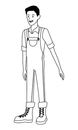 farm, animals and farmer man with overall, boot avatar cartoon character in black and white vector illustration graphic design 向量圖像