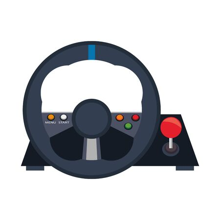 Videogame steering wheel console controller isolated vector illustration graphic design