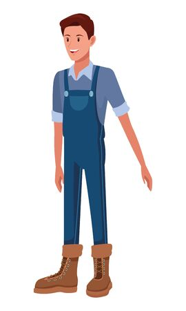 farm, animals and farmer man with overall, boot avatar cartoon character vector illustration graphic design