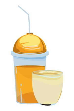 fruit tropical smoothie drink with dome lid, small glass cup and straw icon cartoon vector illustration graphic design