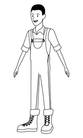 farm, animals and farmer afroamerican man with overall and boots avatar cartoon character in black and white vector illustration graphic design 向量圖像