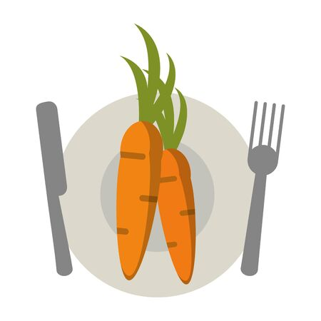 healthy and balanced food carrot dish cartoon vector illustration graphic design 일러스트