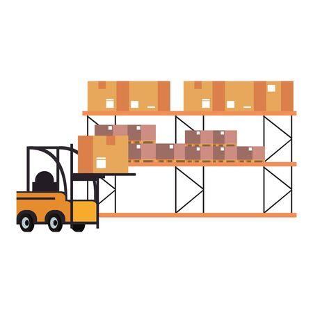 Forklift loading box to warehouse boxes vector illustration Foto de archivo - 132663755