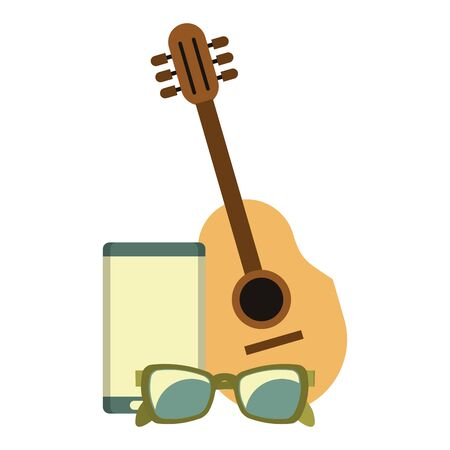 accessories for summer days symbols and music player acoustic guitar with sunglasses isolated Vector design illustration