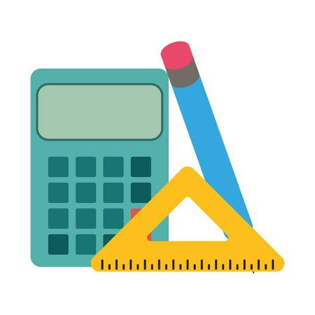 calculator with squad ruler and pencil over white background, vector illustration