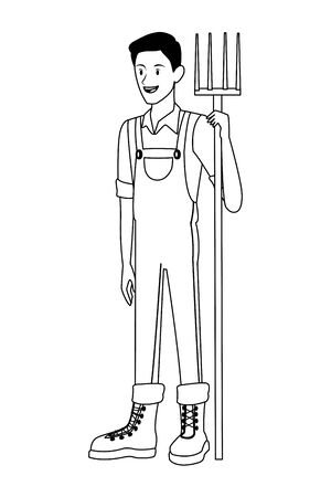 farm, animals and farmer man with overall, boot and holding a rake avatar cartoon character in black and white vector illustration graphic design 向量圖像