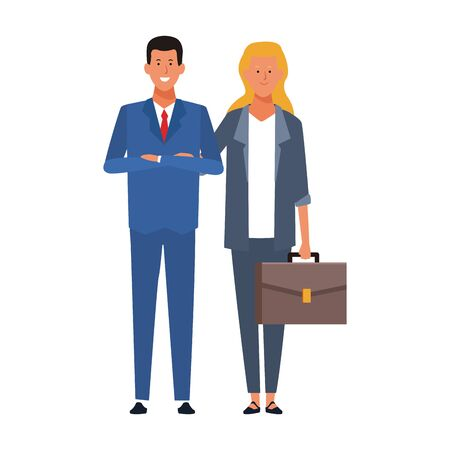 cartoon business young woman and man standing over white background, vector illustration Illustration