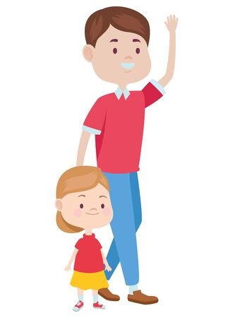 Family single father playing andsmiling with daughter ,vector illustration graphic design.