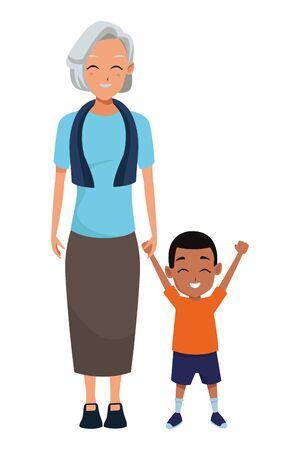 Main de grand-mère de famille avec la conception graphique d'illustration vectorielle de garçon afro-américain