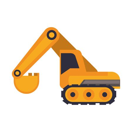 Constrution backhoe vehicle machinery isolated sideview vector illustration graphic design
