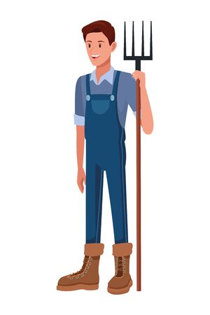 farm, animals and farmer man with overall, boot and holding a rake avatar cartoon character vector illustration graphic design