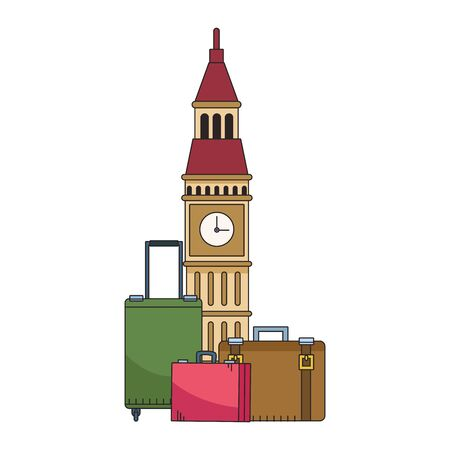 big ben and travel suitcases over white background, vector illustration Иллюстрация