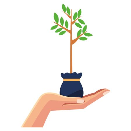 hand holding a plant growing with leaves in a grow bag icon cartoon isolated vector illustration graphic design