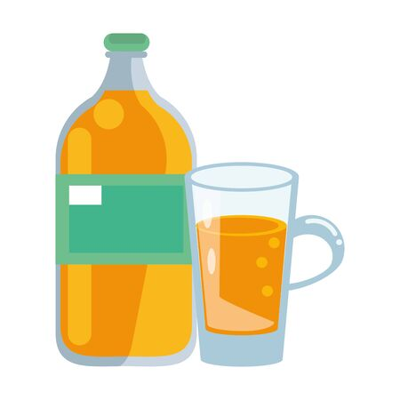 healthy drink juice orange nature bottle cartoon vector illustration graphic design 일러스트