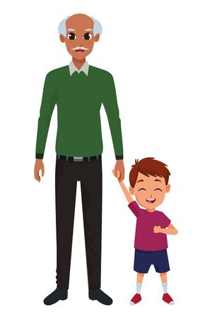 Family grandfather and little grandson smiling cartoon vector illustration graphic design 向量圖像