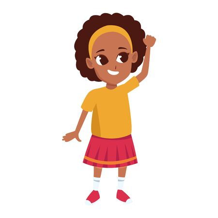 cartoon little girl with curly hair and wearing skirt over white background, vector illustration