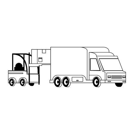 Forklift loading box to delivery truck isolated vector illustration