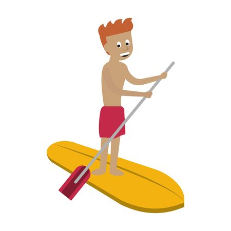 Water extreme sport man on surf table with rowing cartoon isolated vector illustration graphic design Illusztráció