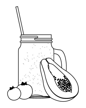 tropical fruit and smoothie drink with papaya and bluberries icon cartoon in black and white vector illustration graphic design
