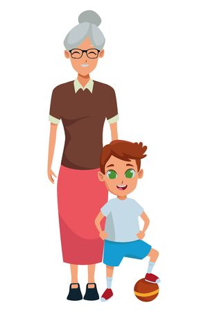 Family grandmothertaking care of grandson cartoon vector illustration graphic design 向量圖像