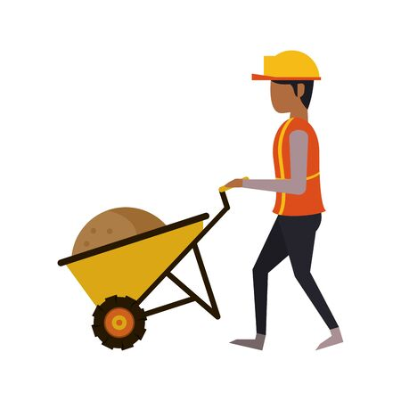 construction architectural engineering, worker making heavy work with protection safety equipment in under construction site cartoon vector illustration graphic design Vetores