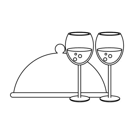 covered plattered and wineglasses icon over white background, vector illustration Illustration
