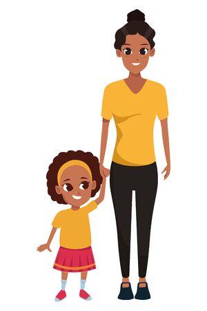 Family single mother with daughter cartoon vector illustration graphic design Vektorgrafik