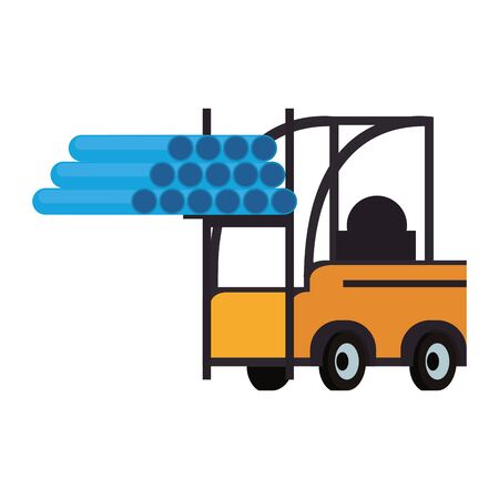 Forklift with pvc pipes cargo vehicle isolated vector illustration