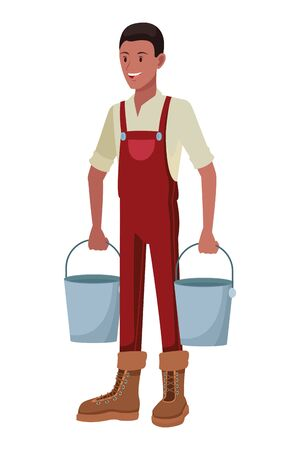 farm, animals and farmer afroamerican man with overall, boots and carrying two pails avatar cartoon character vector illustration graphic design
