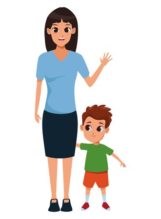 Single mother with children son cartoon vector illustration graphic design