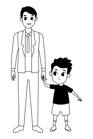 Family single father with little son cartoon vector illustration graphic design
