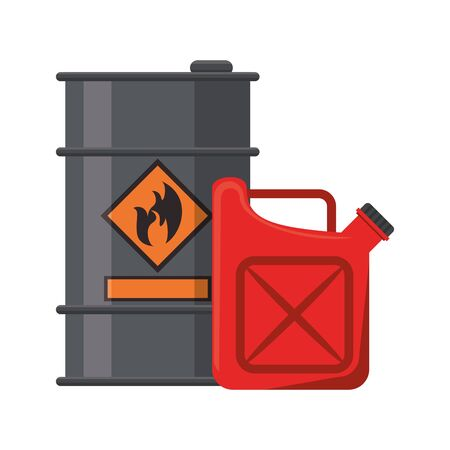Oil barrel and fuel can symbols vector illustration graphic design Vetores