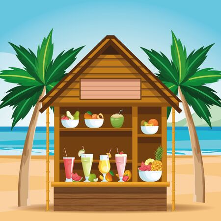 smoothies and fruit bowls beach store icon cartoon vector illustration graphic design