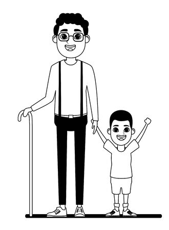 family avatar afroamerican grandfather with glasse and cane next to afroamerican boy profile picture cartoon character portrait in black and white vector illustration graphic design Illustration