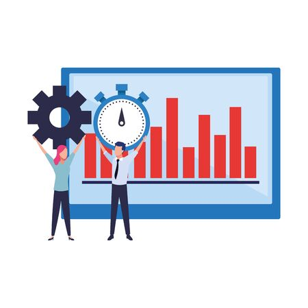 business couple carrying gear and chronometer and a data chart behind them vector illustration graphic design