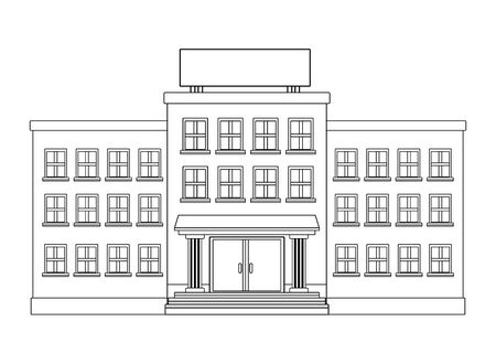 school building icon cartoon isolated in black and white vector illustration graphic design