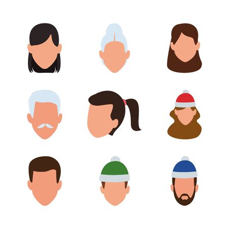 set of people avatar faces with christmas hat over white background. colorful design, vector illustration Иллюстрация