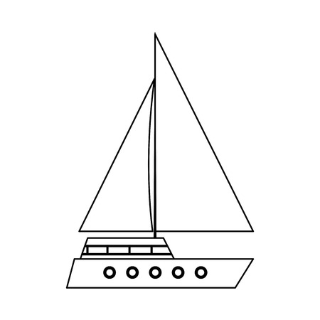 sailboat icon over white background, vector illustration