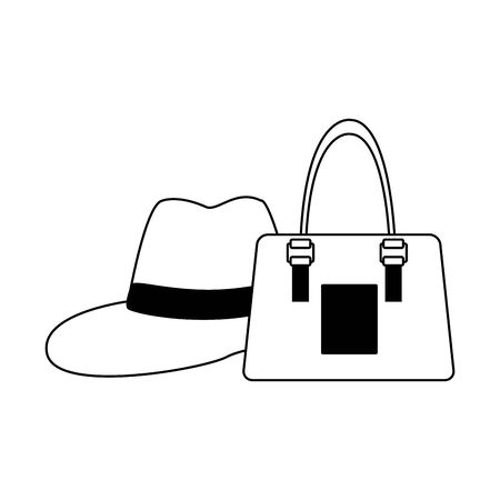 women handbag and hat icon over white background, vector illustration Иллюстрация