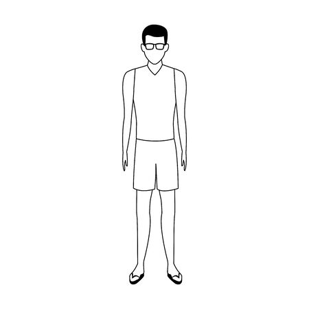 avatar man wearing swimsuit and sunglasses over white background, vector illustration