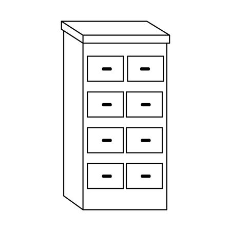 Wooden Four Drawer Rack icon over white background, vector illustration