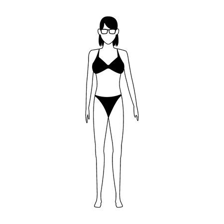 avatar woman wearing swimsuit and sunglasses icon over white background, vector illustration 矢量图像