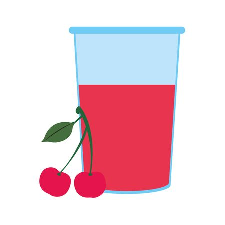 cherry juice icon over white background, vector illustration